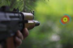 Portata rossa del punto per l'obiettivo di rosso di vista del fucile di assalto fotografia stock libera da diritti