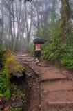 Portatore che dirige la traccia su Kilimanjaro Fotografie Stock Libere da Diritti
