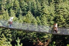 Portatori che portano le materie pesanti sul ponte di corda Fotografie Stock Libere da Diritti