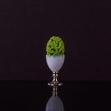 Portauovo prominente con l'uovo di Pasqua verde sciccoso del elegante Fotografia Stock