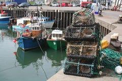 Portavogie Lobster Pots. Lobster Pots piled up on the pier at Portavogie Stock Photos