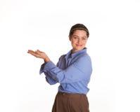 Portavoz de sexo femenino con la palma vuelta hacia arriba Foto de archivo