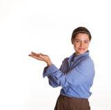 Portavoz de sexo femenino con la palma vuelta hacia arriba Fotos de archivo