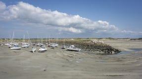 Portbail-Hafen bei Ebbe Stockbild