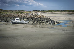 Portbail Harbour at Low Tide Royalty Free Stock Photography