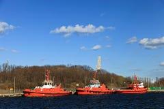 portbogserbåtar Arkivfoto