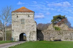 PORTCHESTER, HAMPSHIRE, ENGLAND, 30 MAR 2015: Portchester Castle is a medieval castle built within a former Roman fort at Portches. Ter in Hampshire stock image