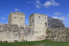 PORTCHESTER, HAMPSHIRE, ENGLAND, 30 MAR 2015: Portchester Castle is a medieval castle built within a former Roman fort at Portches. Ter in Hampshire stock photo