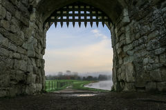 Portcullis in stone archway. Taken at Leeds castle, Kent Stock Image