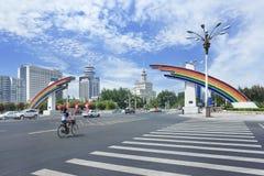 Porte à Chang An Avenue un jour d'été, Pékin, Chine Photographie stock