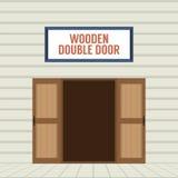 Porte à deux battants en bois ouverte de conception plate Photo stock