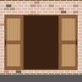 Porte à deux battants en bois ouverte de conception plate Image libre de droits