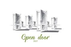 Porte aperte disegnate a mano con iscrizione concettuale Fotografia Stock Libera da Diritti