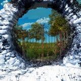 Porte au jardin d'agrément illustration de vecteur