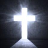 Porte avec la croix lumineuse images libres de droits