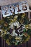 Porte avec la décoration de Noël Photo stock