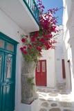 Porte bleue et fleurs de rue arrière de ville de Mykonos Photos libres de droits