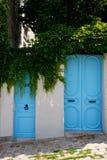 Porte blu sulla via Fotografia Stock Libera da Diritti