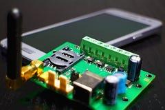 Porte-cartes de SIM en tant qu'élément de communicateur de GSM avec l'antenne Photographie stock