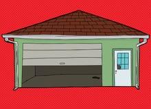 Porte cassée de garage au-dessus du rouge Photos libres de droits