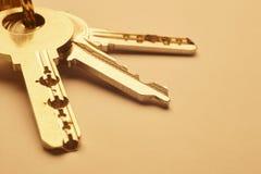 Porte-clés avec des clés dans le ton d'or au-dessus d'un fond vide Photos libres de droits