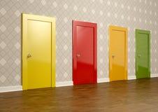 Porte colorate in una stanza che rappresenta il concetto della scelta Fotografia Stock