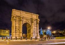 Porte d'Aix,一个凯旋门在马赛,法国 免版税库存图片