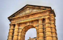 Porte d`Aquitaine, a XVIII century gate in Bordeaux, France Royalty Free Stock Photo