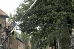 Porte d'Arbeit Macht Frei à Auschwitz photos libres de droits