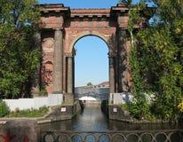 Porte d'eau d'île neuve de la Hollande. St Petersburg Image libre de droits