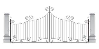Porte d'entrée de fer travaillé avec des colonnes illustration libre de droits