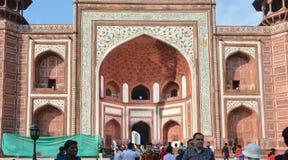 Porte d'entrée de Taj Mahal Agra India Image stock
