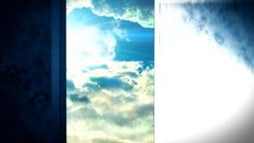 Porte d'ouverture de ciel de la vie après la mort banque de vidéos
