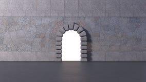 Porte dans un mur sur l'avant d'asphalte photographie stock
