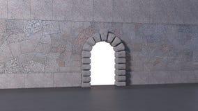 Porte dans un mur sur la surface d'asphalte photos stock