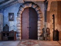 Porte dans un vieux cottage illustration de vecteur