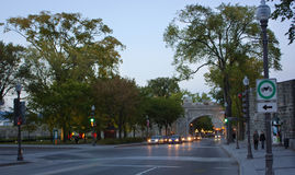 Porte Dauphine gate of downtown Quebec City at early evening Stock Photography