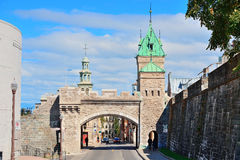 Porte Dauphine in Quebec City. Porte Dauphine gate closeup in Quebec City Stock Photos