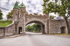 Porte Dauphine in Quebec City. Porte Dauphine gate closeup at cloudy day in Quebec City Stock Photography