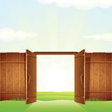 Porte de bois de construction de village Image de vecteur pour votre conception Images stock
