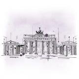 Porte de Brandebourg, voûte triomphale de Berlin illustration stock