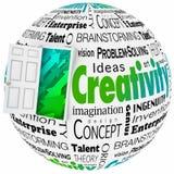 Porte de créativité ouvrant la future conception lumineuse Ideads Brainstormin Photographie stock