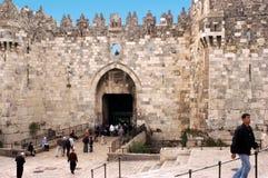 Porte de Damas dans la vieille ville de Jérusalem, Israël Image stock