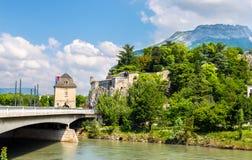 Porte de Francja i Jardin des Dauphins w Grenoble Fotografia Stock