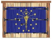 Porte de grange fermée avec Indiana State Flag illustration libre de droits