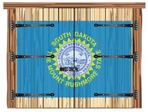 Porte de grange fermée avec le drapeau d'état du Dakota du Sud illustration stock