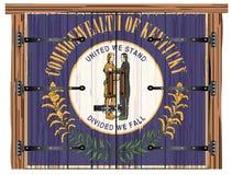 Porte de grange fermée avec le drapeau d'état du Kentucky illustration libre de droits