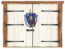Porte de grange fermée avec le drapeau d'état du Massachusetts illustration libre de droits