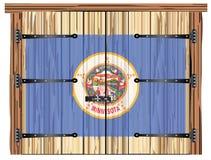 Porte de grange fermée avec le drapeau d'état du Minnesota illustration libre de droits
