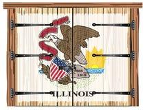 Porte de grange fermée avec le drapeau d'état d'Ilinois illustration de vecteur